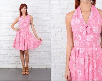 Vintage 70s Pink Backless halter Dress Boho Hippie White Floral patchwork XS 9655
