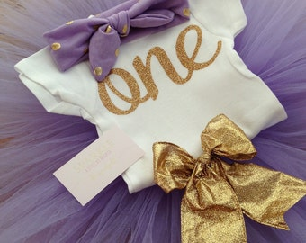 Light Purple and Gold 1st birthday Outfit /Lilac and Gold First Birthday Outfit/Purple and Gold First Birthday Outfit