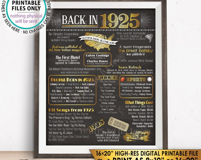 "1925 Flashback Poster, Flashback to 1925 USA History Back in 1925 Birthday Party, Born in 1925, Chalkboard Style PRINTABLE 16x20"" Sign <ID>"