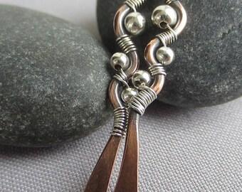Copper Earrings/Mixed Metal Earrings/ Artisan Earrings/ Copper Hammered Earrings/ Copper wire earring/ Long Copper Earrings