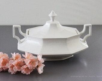 Vintage Ironstone white casserole dish