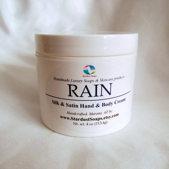 Rain Cream (Handcrafted, Hand and body cream, rich and thick, silky, moisturizing, refreshing) Stardust Soaps 4 oz jar