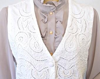 1980's White Vest Cotton Open Cut Lace Vintage Cache Button Front Beaded Tie Back Size Large