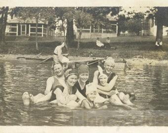 vintage photo 1919 Group Women Swimming in Lake