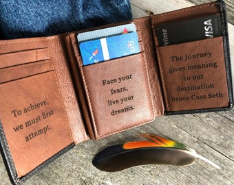 Personalized gift for dad • custom leather wallet • RFID trifold wallet • Father's Day gift  • leather wallet   Black/Toffee** 7133