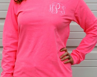 Comfort Colors Long Sleeve Monogrammed T-Shirt (Adult Embroidered Monogram Unisex Tee Shirt Sizes S-3X) 6014