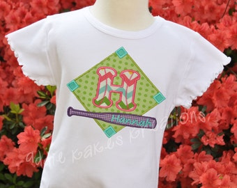 Personalized Baseball or Softball Diamond Applique Shirt with Bat