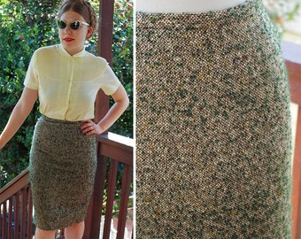 OLIVE 1950's 60's Vintage Light Olive + Green Thick Nubby Wool Tweed Pencil Skirt // size Small W 26""