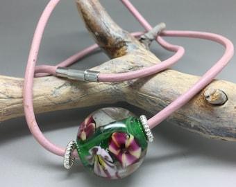 Flower ball, glass bead, blossoms, pink, lampwork bead