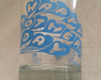Vintage Happy Mother's Day Tumbler Glass, Orchids of Hawaii, Boy pulled by Balloons, barware