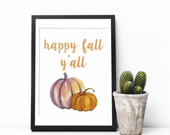 Hello Fall Print, Fall Print, Fall Decor, Fall Wall Art, Fall Printable Art, Autumn Print, Watercolor Print, Fall Wall Hanging