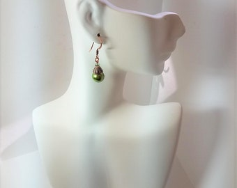 Earrings Green Glass Pearls & Copper