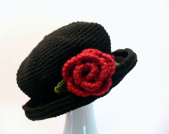 Crochet Pattern - Womens Hat with Brim Flower Rose and Violets Summer, Winter, Sizes Baby, Toddler, Girls, Teen, Ladies, Womens Large # 102