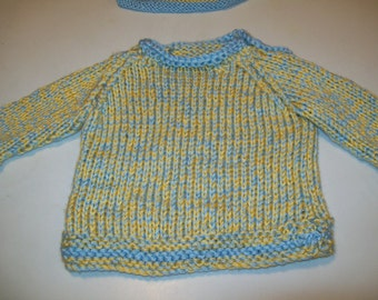 Gift for New Mom, Baby Sweater, Blue and Yellow Baby Pullover Sweater and Matching Hat, Gift for Baby,  by hipknitta