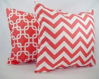Two Coral Decorative Throw Pillows Coral and White - Coral Throw Pillow - Coral Couch Pillow - Coral Accent Pillows - 18x18 Inch 20x20  Inch