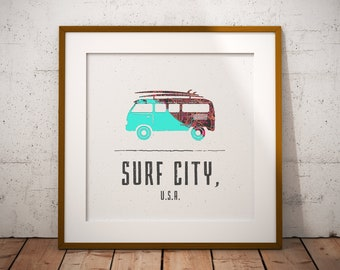 VW Bus Beach Map Print, Huntington Beach Map, Surf City USA Map Art, Travel Gift, Volkswagen, Birthday Gift Art, Wedding Gift, Beach Map Art