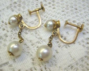 Vintage 10K Gold Genuine Pearl Screw Back Earrings...4 Genuine Pearl Dangles...Hallmarked...Circa 1950s...Weigh 3.27 Grams