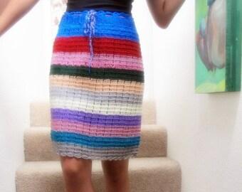 Crochet Summer skirt, colorful beach skirt with stripes one of a kind festival skirt