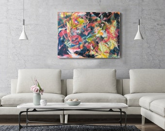 Large Abstract Painting on Board Wall Art Decor Contemporary Painting Abstract Expressionist Modern Art