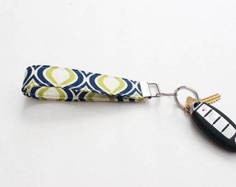 Key Fob - Fabric Key Fob - Blue Key Fob - Fabric Key Chain - Blue and Green Key Fob - Gift For Her - Valentine's Day Gift