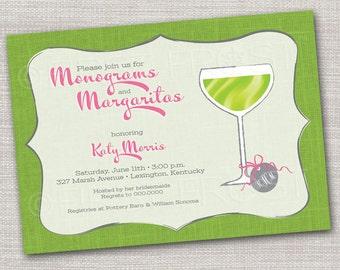 Monograms and Margaritas Printable Invitation - Wedding Bridal Shower Tea Luncheon