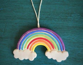 Ceramic Rainbow Ornament or Magnet
