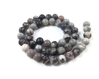 Network Stone Round Beads Strands 6 or 8mm