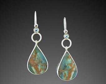 Peruvian Opal Earrings with Aquamarine