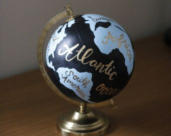 Pure Endeavora Handpainted Globe // Handlettered Anthropologie-inspired painted globe // perfect for nusery, baby shower, wedding and more!