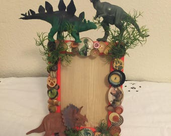 Dinosaur Frame, Hand Designed, Handmade, Vintage Assemblage, Home Decor, Accent Decor, Upcycled, Repurposed