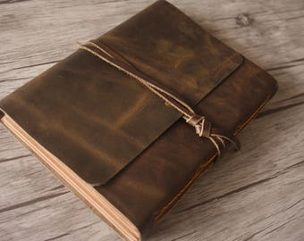 Leather Photo Album, Personalized Leather Album, Baby Album, Distressed Scrapbook Album, Leather Wedding Guestbook