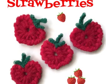 Strawberry Scrubbies, Nylon Netting Dish Scrubbies,Double-Layered and Super Durable,Kitchen Decor,Fruit Scrubbies-Gift for Her