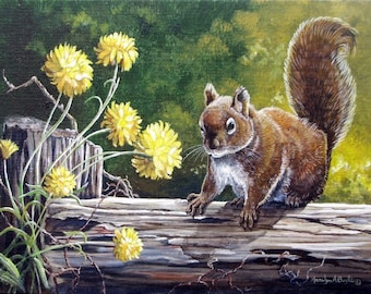 PRINT- SQUIRREL; 8 X 10 inches, wildlife, nature, backyard, flowers, garden, wall art, Canadian art