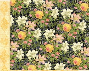 Graphic 45 Floral Shoppe-Indigo Lilies-Double-sided sheet 12x12 cover-weight-acid and lignin free