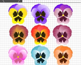 Flower Clipart, Floral Clip Art, Pansies, Pansy, Easter Clip Art, Digital Design, Scrapbooking Element, Instant Download, Commercial Use