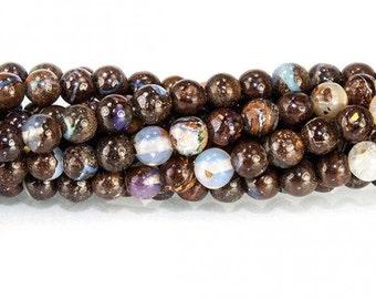Boulder Opal Smooth Round Beads - 5 Beads, Australian Opal, October Birthstone, Genuine Opal, Gemstone Beads, Brown Opal, Unfaceted Opal  10