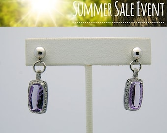 White Gold Amethyst Diamond Drop Earrings -14K February Birthdays