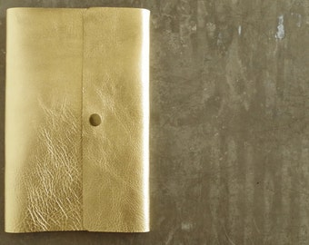 "8.5"" x 5.5"" Refillable gold leather notebook large 100% recycled paper flat head chicago screws solid antique brass snap button"