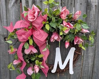 Spring Magnolia Wreath, Pink Tulip Magnolia Wreath, Spring Door Wreath, Realistic Wreath, Coral Pink Wreath
