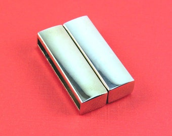 Flat Magnetic Clasp 30 mm Polished Silver Rhodium Magnetic Clasp Glue-In Rectangular Clasp For Leather or Beadweaving (CL00009S)