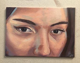 """5 x 7 oil on canvas painting - """"Those Eyes"""""""
