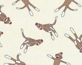 "5 Funky Sock Monkeys Tossed Cream | Cotton Quilting 54"" fabric 