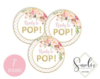 Ready To Pop Tags, Blush Boho Floral Baby Shower Stickers, Instant Download Printable Favor Tags Watercolor Floral Baby Girl, DIGITAL FILES