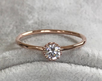 Rings, Rose Gold Ring, Mothers Day Ring, Wedding Ring, Promise Ring, Anniversary Ring, Gold Rings, Delicate Ring, Diamond Birthstone Ring