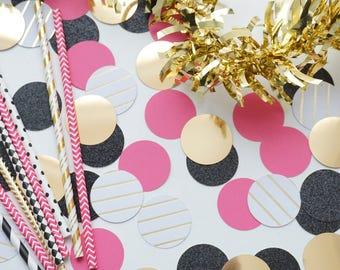 Black, Pink and Gold Circle Confetti, Wedding Confetti, Party Decorations, Bridal Party Decor, Wedding Decor, Bachelorette Party Confetti