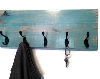 Blue Coat Rack, Key Rack, Coat Hanger, Farmhouse Coat Rack, Coat Rack Wall Mount, Coat Rack Hooks, Wall Coat Rack, Modern Coat Rack