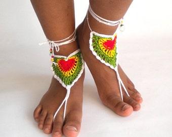 Rasta barefoot sandals, crochet lace heart, beach rasta shoes, rasta footwear, reggae shoes