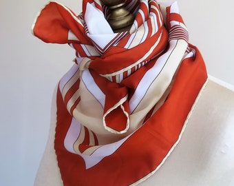 AEXANDER scarf, ladies square scarf, rust scarf, square turban, groovy,  70s scarves, geometric scarf, 70s fashion, retro scarf