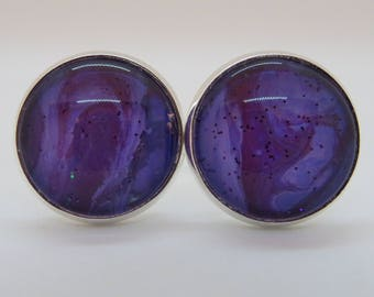 Cufflinks, purple, wearable art, statement accessorie, custom, hand painted, unique gift, gift for him.