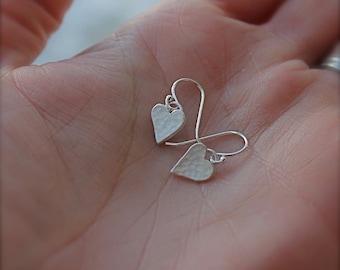Small hammered heart. satin finish hammer textured hearts. Simple Little heart earrings. OOAK. Minimalist